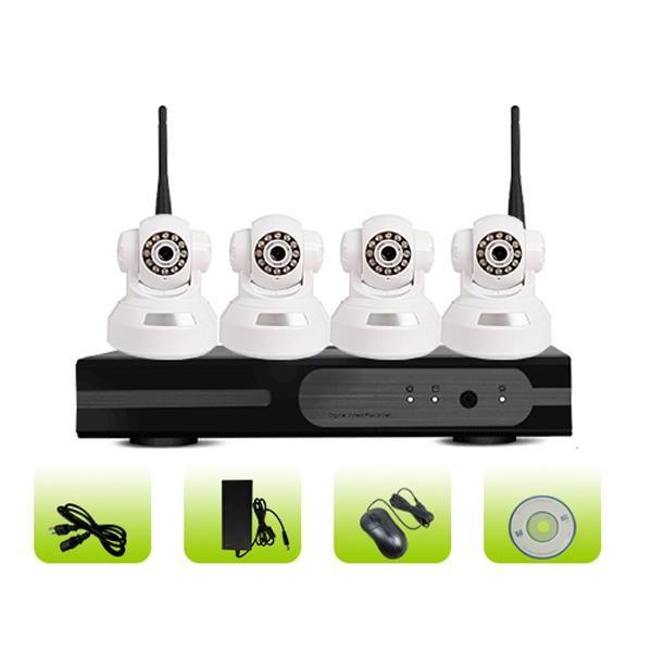 SK04W-10RB H.264 Indoor Surveillance Wireless Network IP 4ch Camera System
