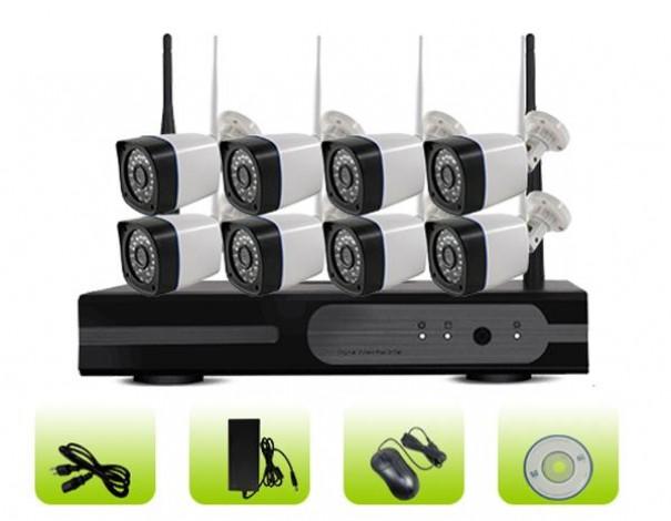 SK08W-10PP Outdoor Surveillance 8ch Camera 3G WiFi P2P Cloud NVR Kit