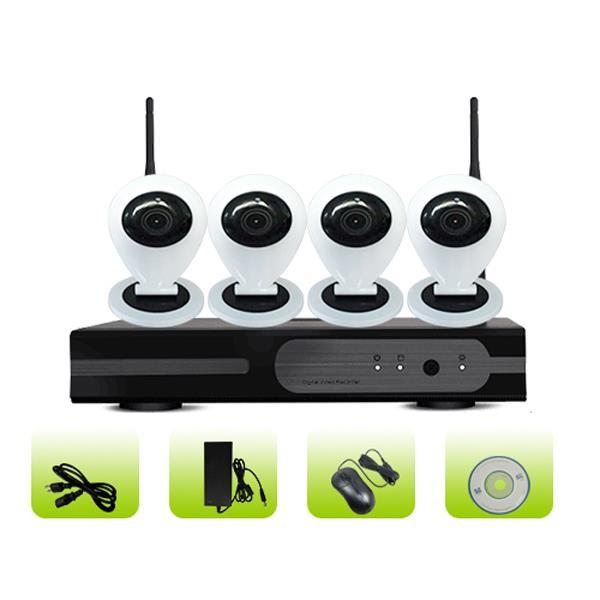 SK04W-10CB Smart Home Remote Viewing 3G Surveillance 4ch Mini Camera NVR Kit